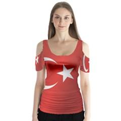 Flag Of Turkey Butterfly Sleeve Cutout Tee