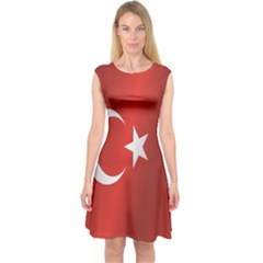 Flag Of Turkey Capsleeve Midi Dress