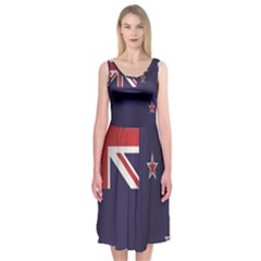Flag Of New Zealand Midi Sleeveless Dress