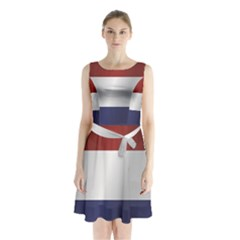 Flag Of Netherlands Sleeveless Waist Tie Dress