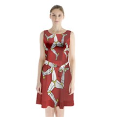 Flag Of Isle Of Man Sleeveless Waist Tie Dress