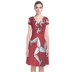 Flag Of Isle Of Man Short Sleeve Front Wrap Dress