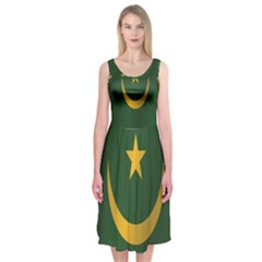 Flag Of Mauritania Midi Sleeveless Dress