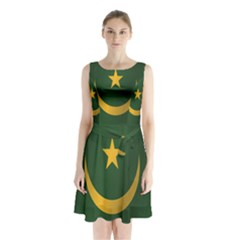 Flag Of Mauritania Sleeveless Waist Tie Dress