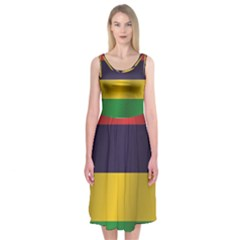 Flag Of Mauritius Midi Sleeveless Dress