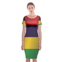 Flag Of Mauritius Classic Short Sleeve Midi Dress