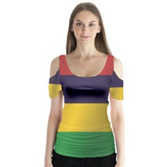Flag Of Mauritius Butterfly Sleeve Cutout Tee