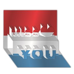 Flag Of Luxembourg Miss You 3D Greeting Card (7x5)