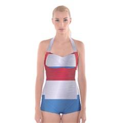 Flag Of Luxembourg Boyleg Halter Swimsuit