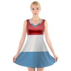 Flag Of Luxembourg V-Neck Sleeveless Skater Dress