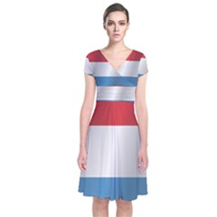 Flag Of Luxembourg Short Sleeve Front Wrap Dress