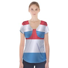 Flag Of Luxembourg Short Sleeve Front Detail Top