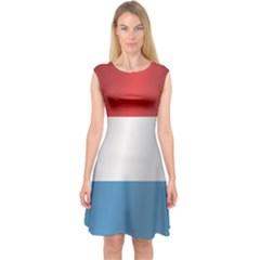 Flag Of Luxembourg Capsleeve Midi Dress