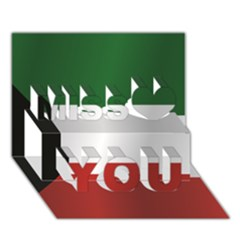 Flag Of Kuwait Miss You 3D Greeting Card (7x5)