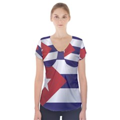 Flag Of Cuba Short Sleeve Front Detail Top