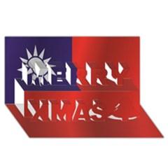 Flag Of Taiwan Merry Xmas 3D Greeting Card (8x4)