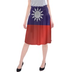 Flag Of Taiwan Midi Beach Skirt