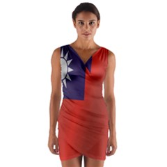 Flag Of Taiwan Wrap Front Bodycon Dress
