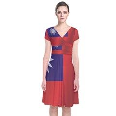 Flag Of Taiwan Short Sleeve Front Wrap Dress