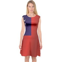 Flag Of Taiwan Capsleeve Midi Dress