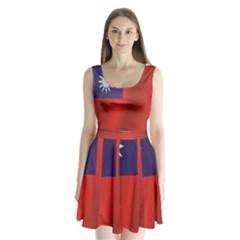 Flag Of Taiwan Split Back Mini Dress