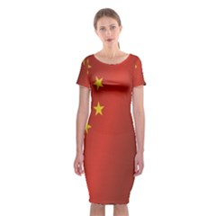 Flag Of China Classic Short Sleeve Midi Dress