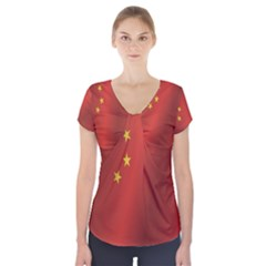 Flag Of China Short Sleeve Front Detail Top
