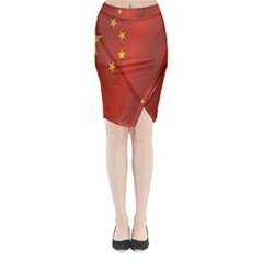 Flag Of China Midi Wrap Pencil Skirt