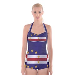 Flag Of Cape Verde Boyleg Halter Swimsuit
