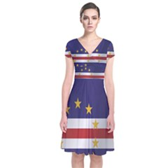 Flag Of Cape Verde Short Sleeve Front Wrap Dress