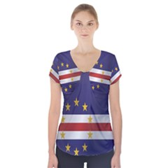Flag Of Cape Verde Short Sleeve Front Detail Top