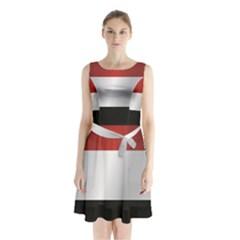 Flag Of Yemen Sleeveless Waist Tie Dress