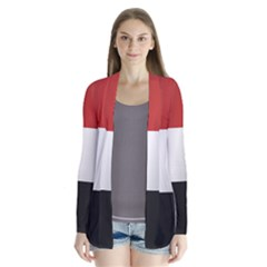 Flag Of Yemen Drape Collar Cardigan