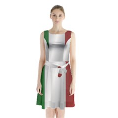 Flag Of Italy Sleeveless Waist Tie Dress