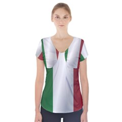 Flag Of Italy Short Sleeve Front Detail Top