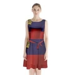 Flag Of Liechtenstein Sleeveless Waist Tie Dress