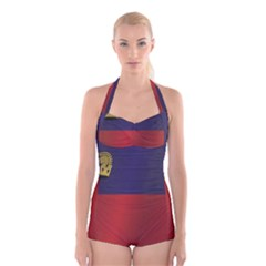 Flag Of Liechtenstein Boyleg Halter Swimsuit