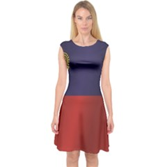 Flag Of Liechtenstein Capsleeve Midi Dress