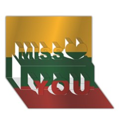 Flag Of Lithuania Miss You 3D Greeting Card (7x5)