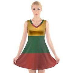 Flag Of Lithuania V-Neck Sleeveless Skater Dress