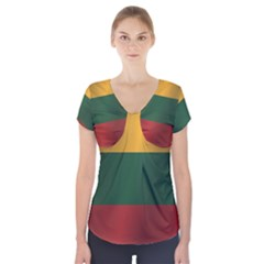 Flag Of Lithuania Short Sleeve Front Detail Top