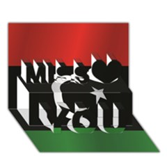 Flag Of Libya Miss You 3D Greeting Card (7x5)