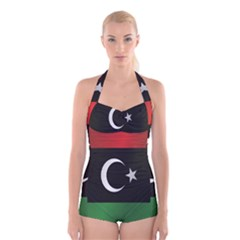 Flag Of Libya Boyleg Halter Swimsuit