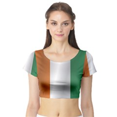 Flag Of Ivory Coast Short Sleeve Crop Top (Tight Fit)