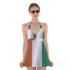 Flag Of Ivory Coast Halter Swimsuit Dress