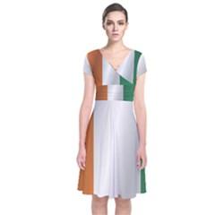 Flag Of Ivory Coast Short Sleeve Front Wrap Dress