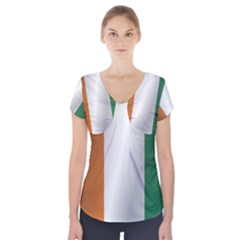 Flag Of Ivory Coast Short Sleeve Front Detail Top