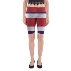 Flag Of Costa Rica Yoga Cropped Leggings