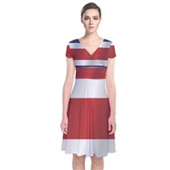 Flag Of Costa Rica Short Sleeve Front Wrap Dress