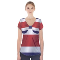 Flag Of Costa Rica Short Sleeve Front Detail Top